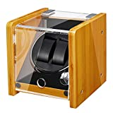 JQUEEN Automatic Double Watch Winder - Bamboo Wood Watch Winder Box with Quiet