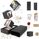 FORIZEN Explosion Box Scrapbook Creative, DIY Álbum de Fotos Libro de Recuerdos, Caja de Regalo Creative Explosion Regalos de Cumpleaños Navidad, Negro