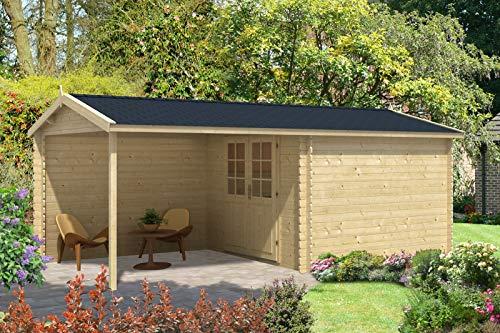 Alpholz Gartenhaus Ruben-28 aus Massiv-Holz | Gerätehaus mit 28 mm Wandstärke | Garten Holzhaus inklusive Montagematerial | Geräteschuppen Größe: 596 x 310 cm | Satteldach
