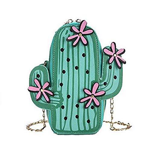XCXDX Frauen-Wassermelone-Kaktus-Form-PU-Leder-Minikreuz-Körper-Beutel-Nette Geldbeutel-Schulter-Ketten-Tasche,D