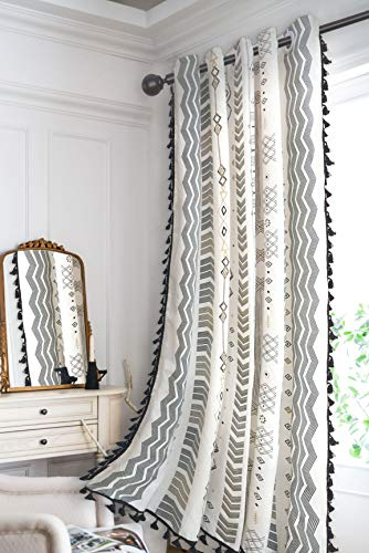 Bohemian Curtains Geometric Window Curtains with Tassels Semi Blackout Tribal Curtain Panels Boho Cotton Linen Grommet Window Drapes for Living Room Bedroom 63 × 59 Inches, Black and White