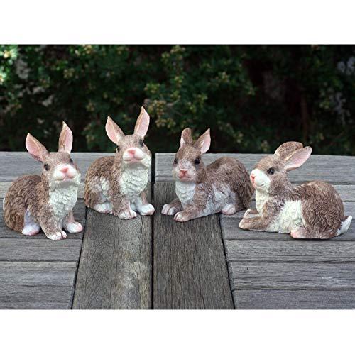 Lot de 4 petits lapins (chatons) pour décoration de jardin