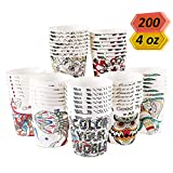 Art Kups [200 Pack - 4 oz ] Espresso Paper Cups | Small Bathroom Cups | Disposable Gargle Cups For Kids | Mini Paper Ice Cream Cups | Mouthwash Cups | Tiny Coffee Paper Shot Cups For Home & Office