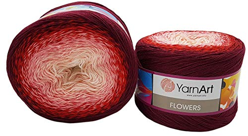 YarnArt Flowers 500 Gramm Bobbel Wolle Farbverlauf, 55% Baumwolle, Bobble Strickwolle Mehrfarbig (Bordeaux rot rosa weiß 269)