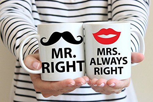 loQuenn Mr Right And Mrs Always Right Mugs-Sexy Labbra Rosse e Barba Coffe Tazze Sets-Valentines Day Gifts for Her/Him Regali di Nozze per Coppie