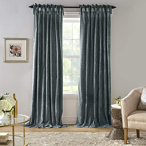 "Elrene Home Fashions Korena Tie-Top Crushed Velvet Window Curtain Panel, 52"" x 84"" (1, Peacock"