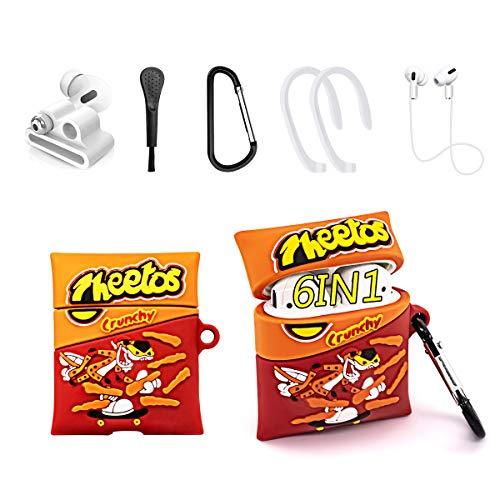 Alquar Schutzhülle für Airpods, niedlich, einzigartig, Cartoon-Lebensmittel, modisches Design, 6-in-1-Zubehör-Set, stoßfest, cool, lustig, Silikon, Schutz für Airpod2/1 (Cheetos Chips)