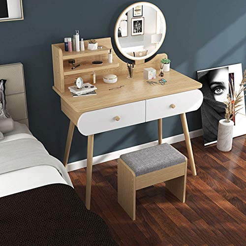 N/Z Living Equipment Makeup Vanity Set with 2 Drawers Dressing Table with Cushioned Stool And Round Mirror Modern Dresser for Bedroom Bathroom Vanity Table Set for Girls Gift(3 Colors)