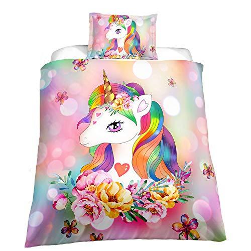 Suncloris,Little Cute Princess Unicorn Duvet Cover Set,Teens' Gift Bedding Set.Included: Duvet Cover, Pillowcase(no Comforter Inside) (Twin)