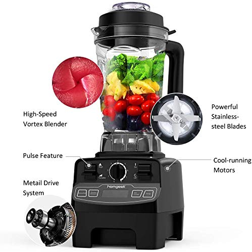 Blender 1450w, homgeek Professional Kitchen Countertop Blender Smoothie Maker with 68oz BPA Free Tritan Container, High Speed Power Blender Built-in Timer for Crushing Ice, Frozen Desser