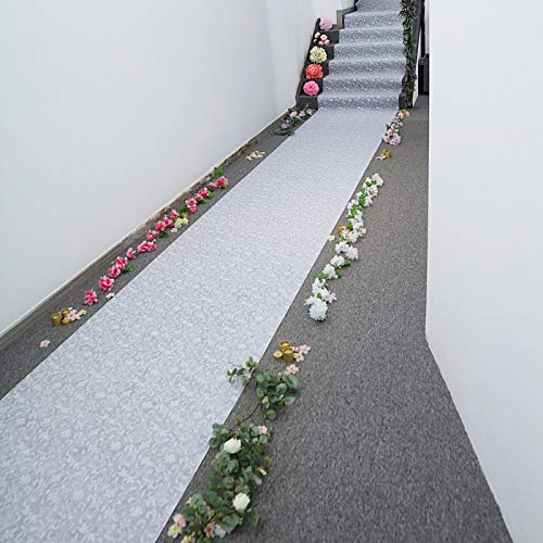 "Efavormart 36"" x 50ft White Floral Lace Aisle Runner"