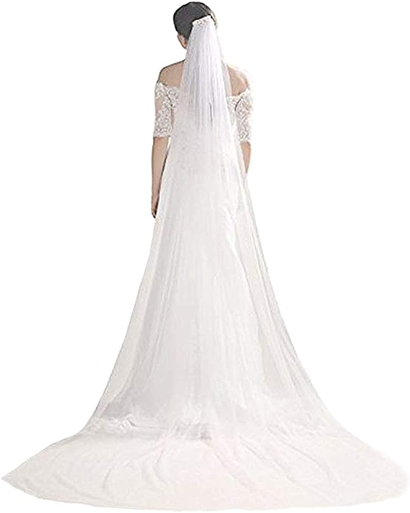 Edary Wedding Bridal Veil with Pearl Comb White Cut Edge Drop Ivory Veil Brides Hair Accessories for Women Cathedral Length