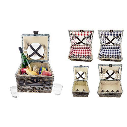 Quantio Weiden Picknick Korb - mit Zubehör: Porzellan Teller, Besteck, Gläser - für 2 oder 4 Personen - Verschiedene Modelle wählbar, Ausführung:Picknickkorb 2 Personen 31 x 31 x 18.5 cm beige