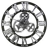 Gazechimp Reloj de Pared Grande de Hierro Forjado Decorativo de 12 Pulgadas, Engranajes industriales de Cuarzo silencioso, Metal rústico, número Romano, Plata