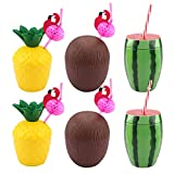 6 tazas de coco para fiesta hawaiana,tazas de piña y tazas de sandía Copas de cóctel tropical para beber con 6 pajitas, tazas tropicales de Luau hawaiano para fiesta de verano con tema de playa