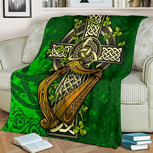Celtic Cross Blanket, Patrick Day Gift Blanket, Gift for Irish Fleece Blanket (50x60)