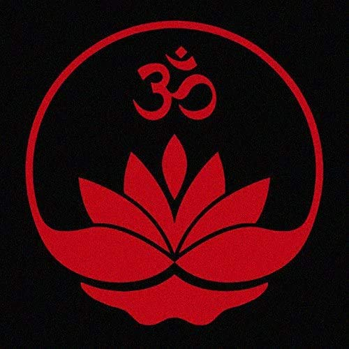Sunset Graphics & Decals Lotus Flower with Aum Om Symbol Car Window Decal Sticker | Cars Trucks Vans Walls Laptop Computer Mirror | RED | 4.75 inches | SGD000176A