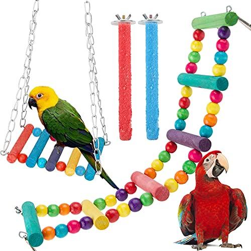 BHGT 4 Pz Giocattoli Uccelli Posatoi Altalena per Gabbia Scala di Corda Uccelli Trespoli Legno Colorato per Pappagalli Parrocchetti Fringuelli Cacatua