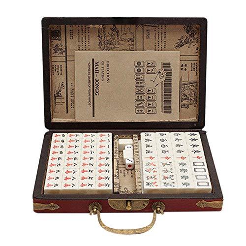 Fly-Dream Chino Mahjong Set 144 Azulejos Mah-Jong Set de juguete chino portátil con caja con antigüedades caja de cuero y manual