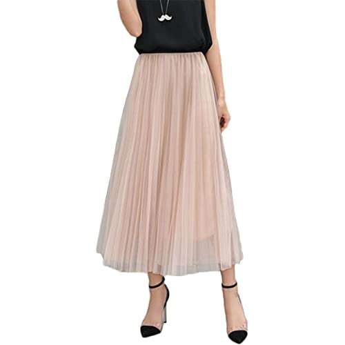 5a85fe1e5ccfef L&Z Womens Long Pleated Tulle Skirt A Line Elastic Waist Formal Wedding  Party Midi Calf Skirts
