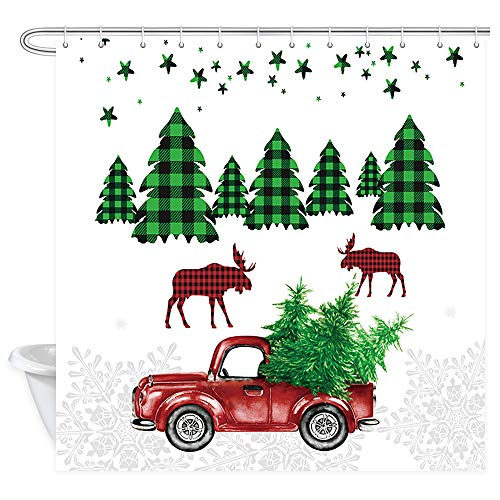 DYNH Retro Christmas Truck Shower Curtain, Vintage Christmas Truck and Moose Xmas Tree with Scottish Plaid in Snow Winter Bath Curtains, Polyester Fabric Bathroom Shower Curtain 12PCS Hooks, 69X70IN