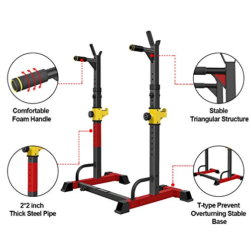UBOWAY Barbell Rack Squat Stand Adjustable Bench Press Rack 550LBS Max Load Multi-Function Weight Lifting Home Gym Fitness