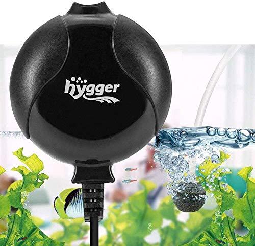 hygger Sauerstoffpumpe für Aquarium, Superleise Aquarium Luftpumpe Geräusch niedriger als 33db 1.5W Leistungsstark Sauerstoffpumpe 420Ml/M Geeignet für Fischbecken und Die Nanoaquarien (Schwarz)