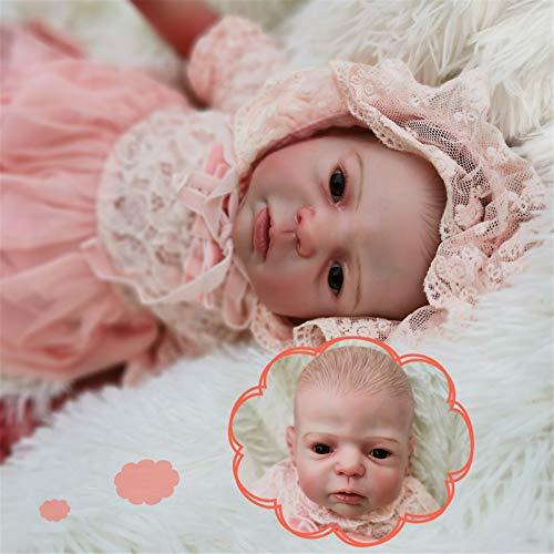 HWZZ El Kit De Muñecas Rebirth De 22 Pulgadas Puede Dormir Bebé Recién Nacido Kit De Fabricación para Principiantes De Bricolaje Adecuado para Regalo De Compañero De Baño,58cm