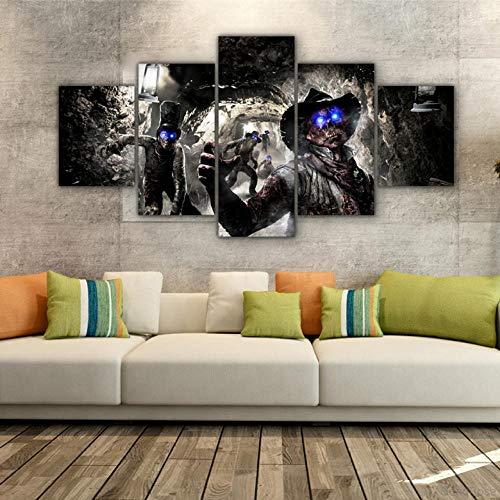 Cuadros Decoracion Salon Modernos 5 Piezas Lienzo Grandes Xxl Murales Pared Hogar Pasillo Decor Abstracto Cuadro De Cuadro De Enmarcado-Películas De Call Of Duty Buried Zombies(Con Marco)/100X55CM