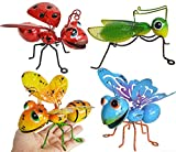 GIFTME 5 Metal Graden Yard Art Hanging Decoration Set of 4 Include Yellow Bee Blue Butterflies Red Ladybug and Green Mantis Perfect The Tree, Porch,Patio or Garden Hanging Wall Sculpture