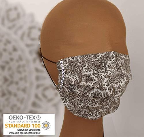 schicke Mund-Nasen-Maske 60° waschbar 2-lagig weiß schwarz Paisley Pailletten silber Glitzer Innenfutter schadstoffgeprüft Nasenbügel Behelfsmaske Damen Frauen (ugs. Mundschutz Maske) JUSCHU-bag