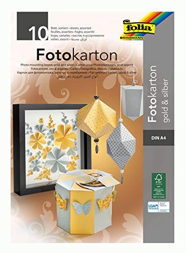 folia 611 - Block mit Fotokarton in gold / silber, DIN A4, 10 Blatt, 300 g/qm, ideale Grundlage für vielfältige Bastelarbeiten wie Fensterbilder, Scrapbooking, Kartengestaltung