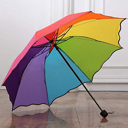 AMA-StarUK36 Dreifach Gefaltet Lotus Blatt Regenbogen Farbe Schirm Regenschirm Kompakt Faltbar Reise Regenschirm UV Block Schutz Faltbar Regenschirm Sonnenschirm Leicht - 02