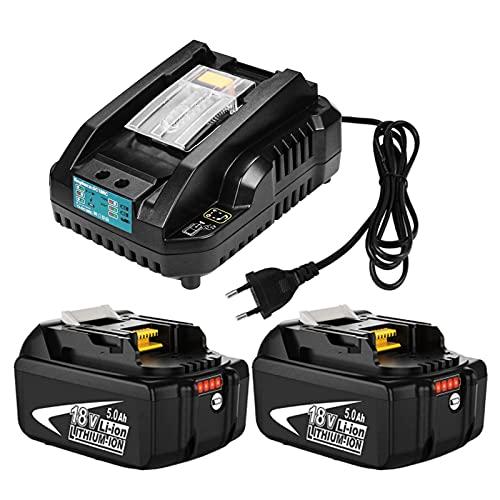 2 pièces 18V 5.0Ah BL1850B pour Makita 18V Batterie + 3A DC18RC pour Makita Chargeur (Rapide) adapté à la Radio de Chantier pour Makita DMR109W DMR109 DMR108 DMR107 DMR106 LXT (2BL1850B + 3A)