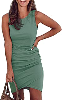 Womens Casual Bodycon Dress Ruched Elegant Tshirt Dresses Irregular Hem