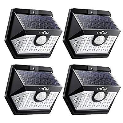 LITOM Solar Lights Outdoor, Wireless Motion Sensor Lights(White Light), 270°Wide Angle, IP65 Waterproof, Easy-to-install Security Lights for Front Door, Yard, Garage, Deck, Porch