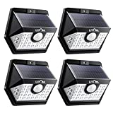 LITOM Solar Lights Outdoor, Wireless Motion Sensor Lights(White Light), 270°Wide Angle, IP65 Waterproof, Easy-to-install Security Lights for Front Door, Yard, Garage, Deck, Porch- Pack OF 4