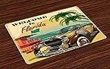 UPNOW Florida Tovagliette Set di 4 Old Beach Picture con Vintage American Car a Visit to Touristic Coastal State Tovagliette in Tessuto Lavabile per Sala da Pranzo Cucina Table Decor Multicolor
