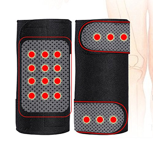 Yiwa 1Paar Magnetische Therapie Knie Leggings Bandage Kniebandage Knie Pads Verstellbarer Warm Massagegerät Health Care
