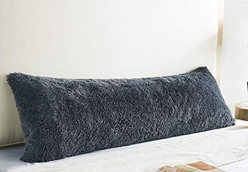COIZA Body Pillow Cover, Plush Shaggy Luxury Ultra Soft Body Pillowcase with Zipper, Throw Body Pillow Cases for Body Pillow (Dark Grey, 2154 )