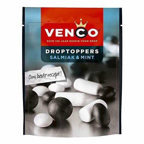 Venco Droptoppers Salmiak & Schulkreide Lakritz 255g Salzige und Süße Lakritze aus Holland