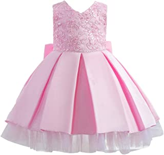 HUAANIUE Baby Toddler Girls Pageant Wedding Birthday Party Dress Sleeveless Flower Girl Dresses