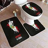 vhg8dweh Juego de alfombras de baño de 3 Piezas,Bandera y Mapa del país de Perú, Almohadillas Antideslizantes Alfombrilla de baño + Contorno + Cubierta de Tapa de Inodoro Almohadilla