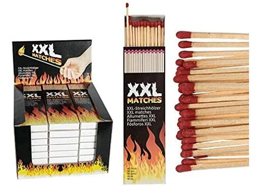 L + H WORLD 100x Streichhölzer XXL extra lang   Streichhölzer im Set - groß - 20 cm   XXL Streichholz ideal für Kerzen Kamin Ofen Grill   Lange Zündhölzer für Kaminfeuer