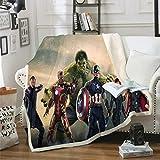 POMJK Avengers Fleecedecke für Kinder,mit Thor, Iron-Man & Captain America 100% Mikrofaser Kinderdecke,Sofadecke Decken,für Picknicks oder Camping (13,130×150CM)