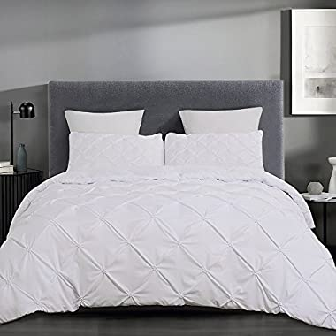 Vaulia Lightweight Microfiber Duvet Cover Sets, White-Tufted Pattern - King Size