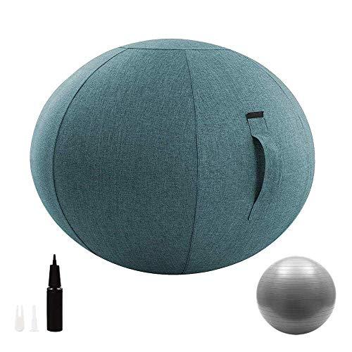 Chaise Boule Assise avec Couvercle et Pompe, Ergonomique Exercice Yoga Ball pour le bureau et la...