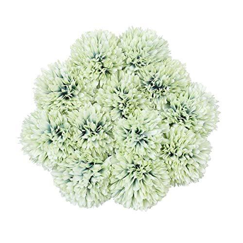 Tifuly Künstliche Hortensie Blumen, 11 Zoll Seide Pompon Chrysantheme Kugel Blumen für Hausgarten Party Büro Dekoration, Braut Hochzeitssträuße, Blumenschmuck, Mittelstücke (Grün-12 Stück)