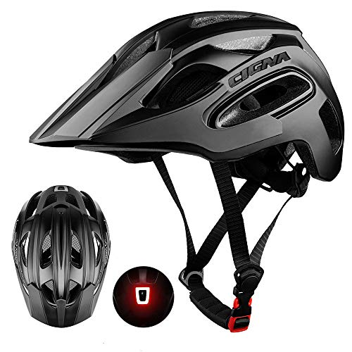 MOKFIRE Bike Helmet for Adults Men Women with USB Light & Visor, Bicycle Cycling Helmets CPSC Certified for Road and Mountain Biking, Adjustable Size 21.26-24 Inches - Whole Black