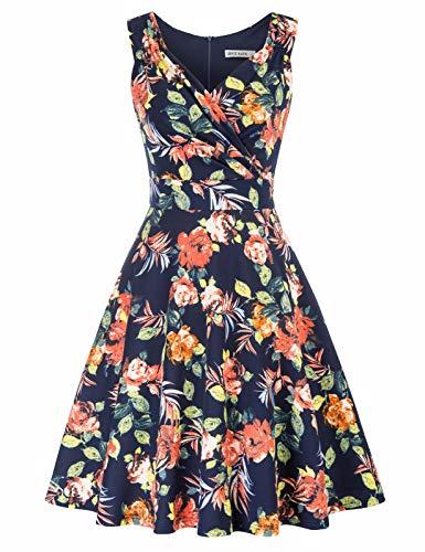 Vestido Vintage para Mujeres sin Mangas Cuello V de Fiesta Cóctel Rockabilly Clásico 2XL CLE02811-6